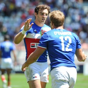 Jean Pascal Barraque and Marvin O'Connor of France celebrates a try during the match between France and Kenya at the HSBC Paris Sevens, stage of the Rugby Sevens World Series on June 2, 2019 in Paris, France. (Photo by Sandra Ruhaut/Icon Sport)